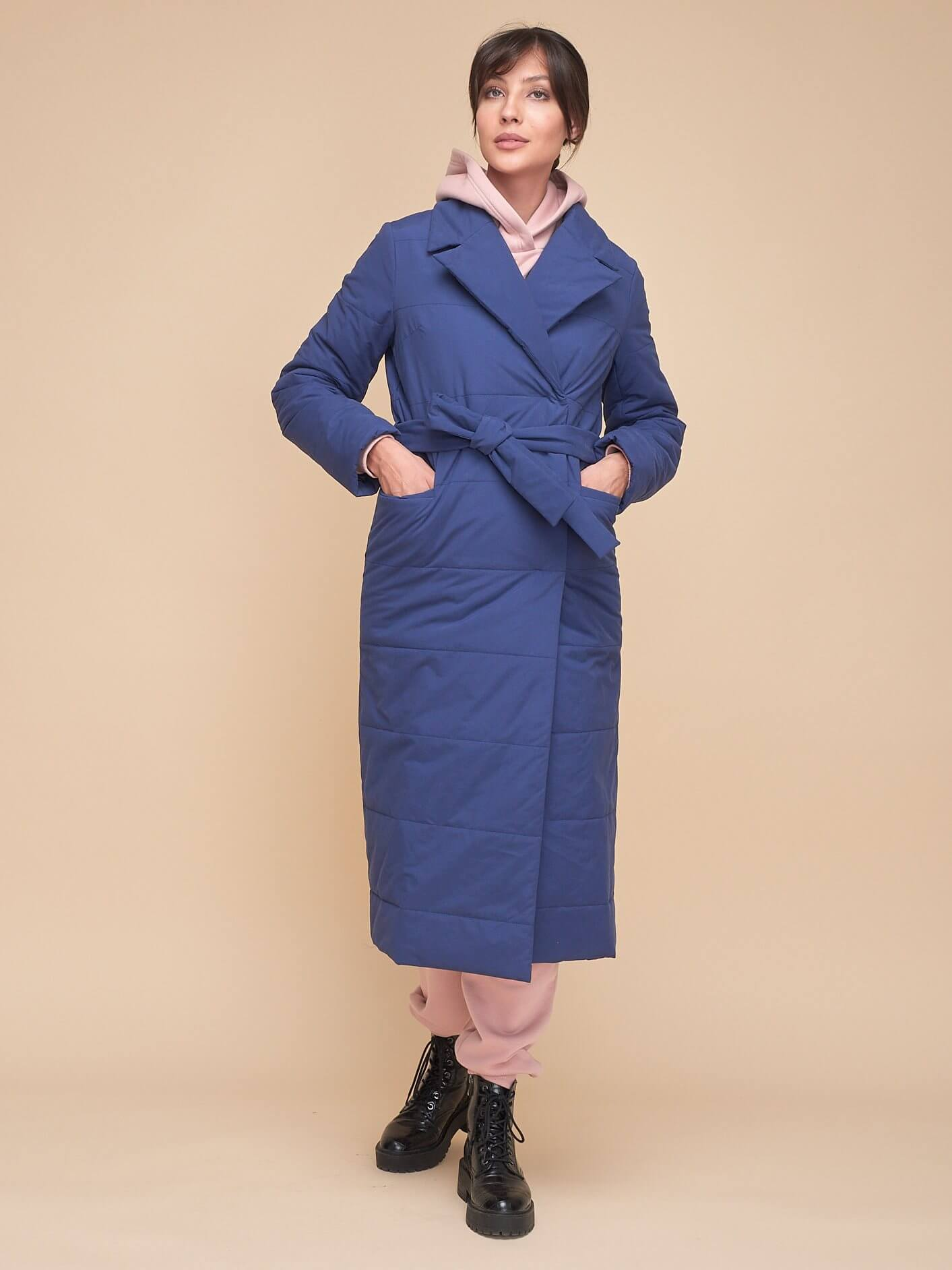 Стеганое пальто с поясом