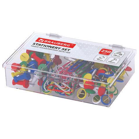 Набор BRAUBERG скрепки цветные 100 шт, кнопки канцелярские 100 шт, силовые кнопки 50 шт