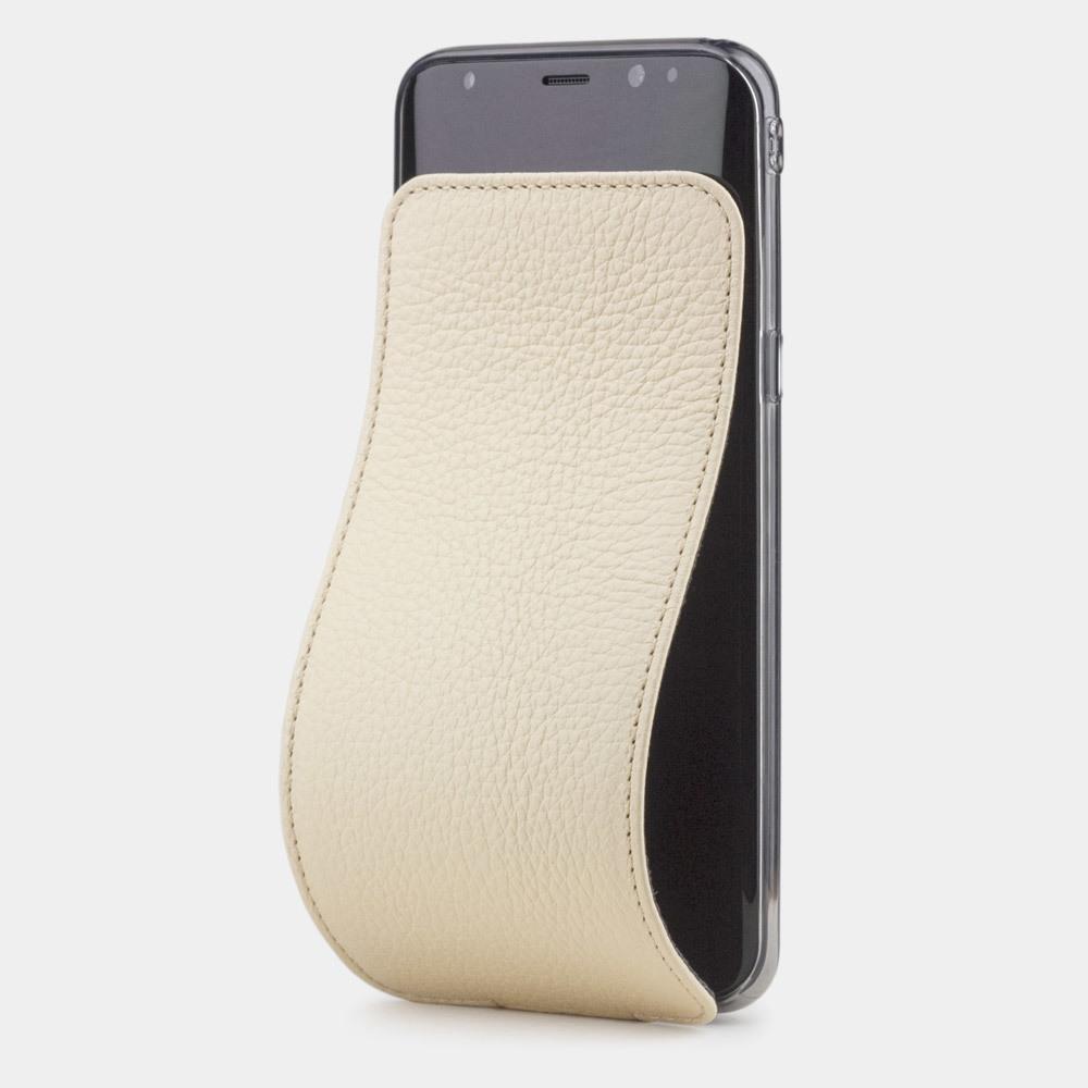 Чехол для Samsung Galaxy S8 Plus из натуральной кожи теленка, молочного цвета