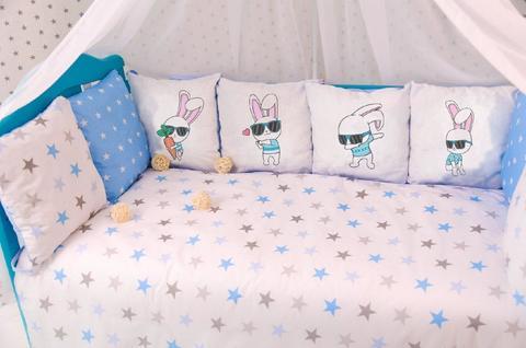 Комплект постельного белья в кроватку Панели 3-10 Голубой