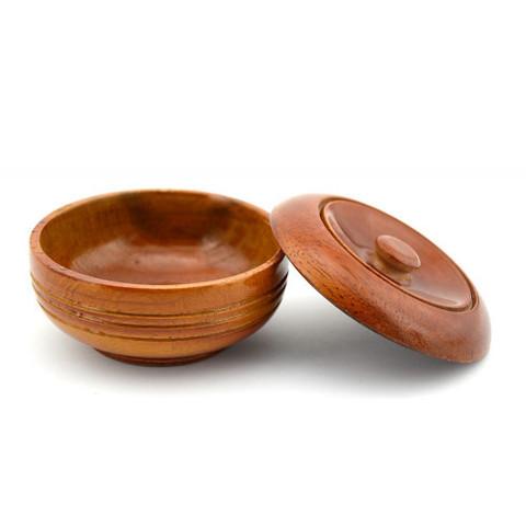 Чаша для бритья деревянная с крышкой