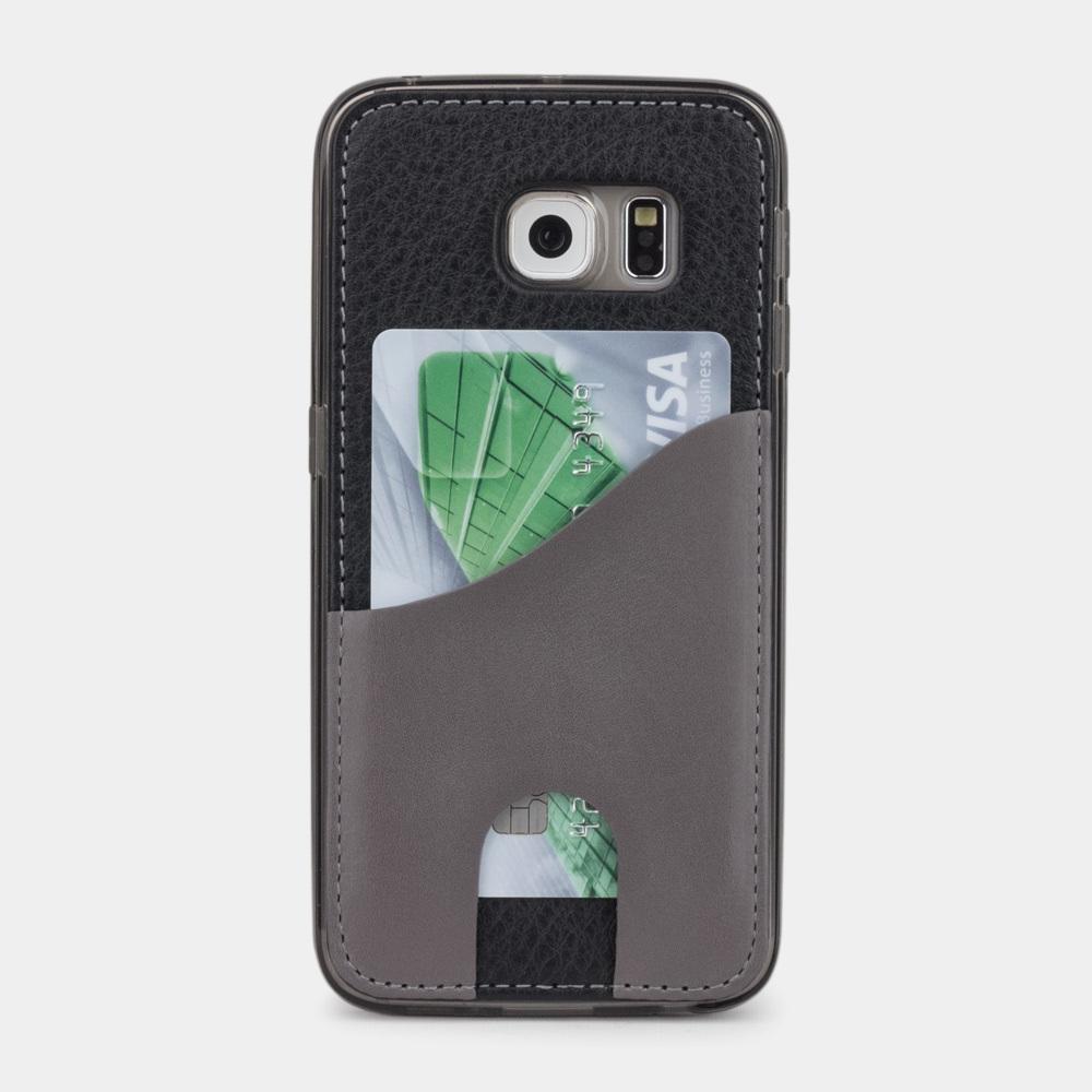 Чехол-накладка Andre для Samsung S6 edge из натуральной кожи теленка, черного цвета