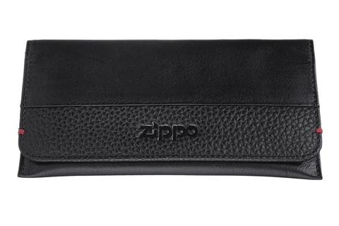 Кисет для табака Zippo, чёрный, натуральная кожа, 15,5x1,2x8 см