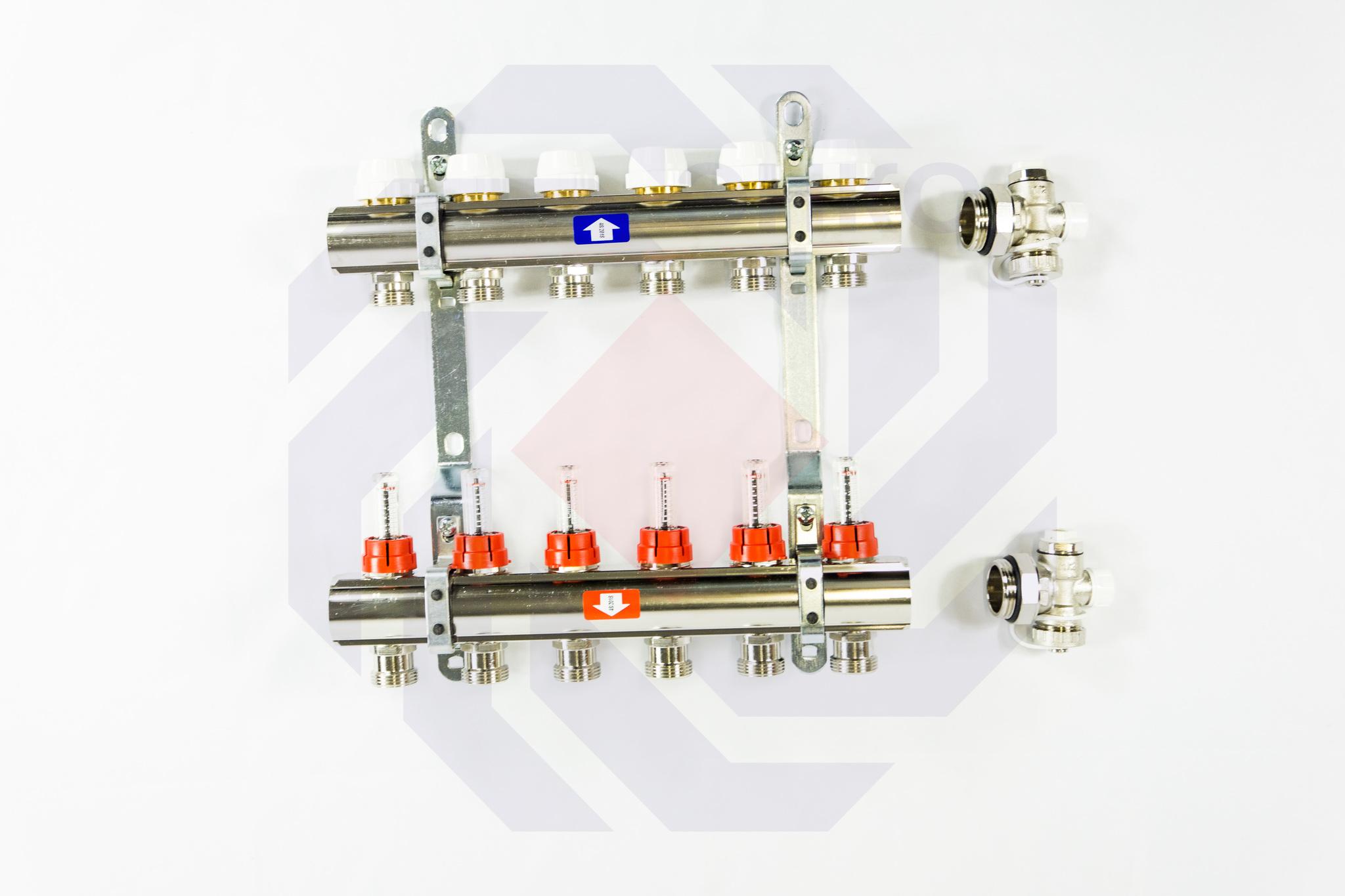 Комплект коллекторов с расходомерами ITAP 916C 6 контуров