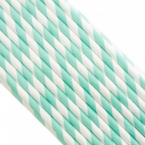 Трубочки бумажные Изумрудные, 200*6мм, 25шт