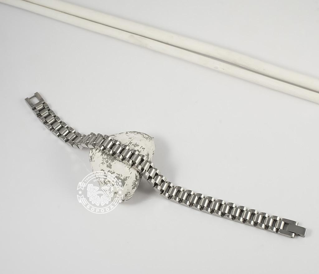 BM341 Стильный, тяжелый браслет из ювелирной стали на удобной застежке (21 см) фото 02