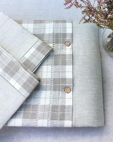 Комплект льняного постельного белья натуральный серый лён, бежевая клетка, деревянные пуговицы
