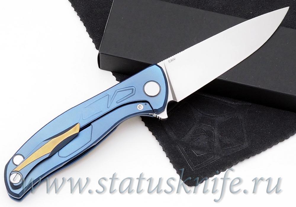 Нож Широгоров Флиппер 95 S30V сине-золотой КАСТОМ - фотография