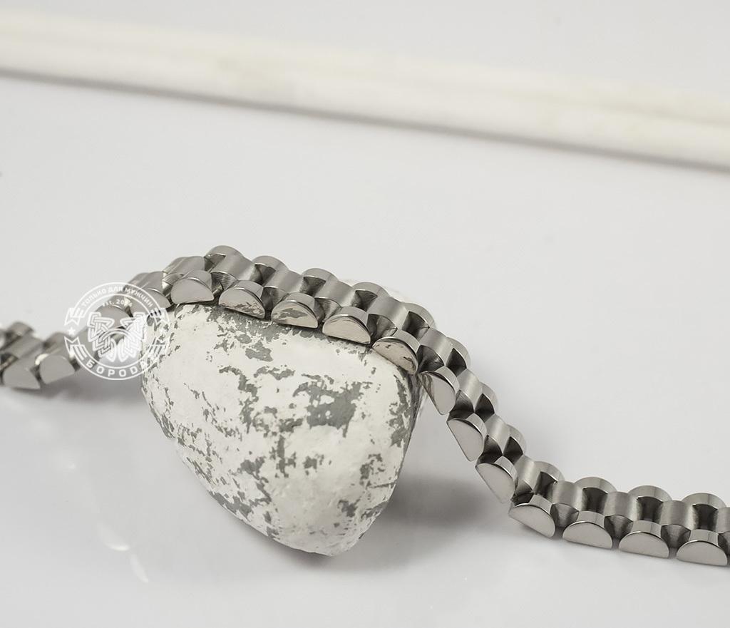 BM341 Стильный, тяжелый браслет из ювелирной стали на удобной застежке (21 см) фото 03