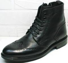Модные кожаные ботинки мужские зимние LucianoBelliniBC3801L-Black .