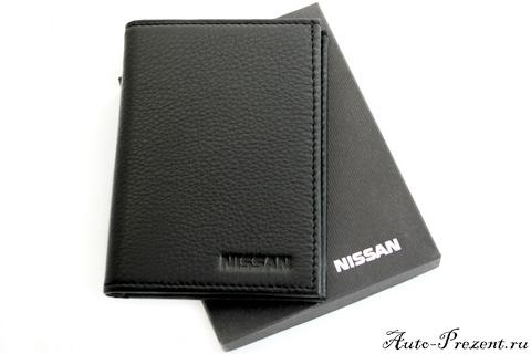 Портмоне для автодокументов из натуральной кожи с логотипом NISSAN