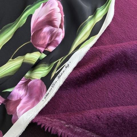 Ткань пальтовая альпака сливовый цвет 3034