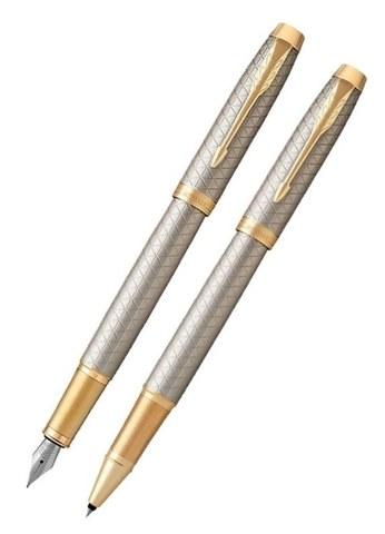 Подарочный набор: Перьевая и ручки роллер Parker  IM Premium Warm Silver (grey) GT