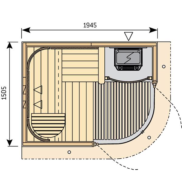 Готовая сауна Harvia Rondium S2015KL осина, фото 2