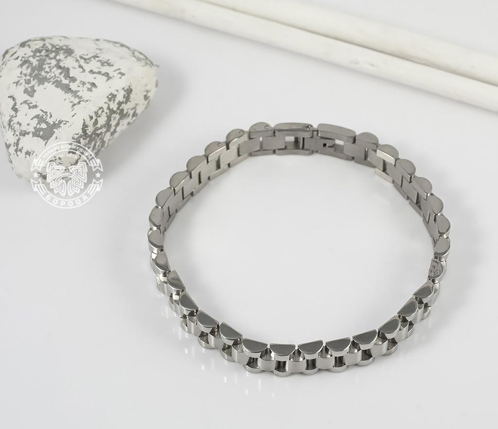 BM341 Стильный, тяжелый браслет из ювелирной стали на удобной застежке (21 см) фото 05