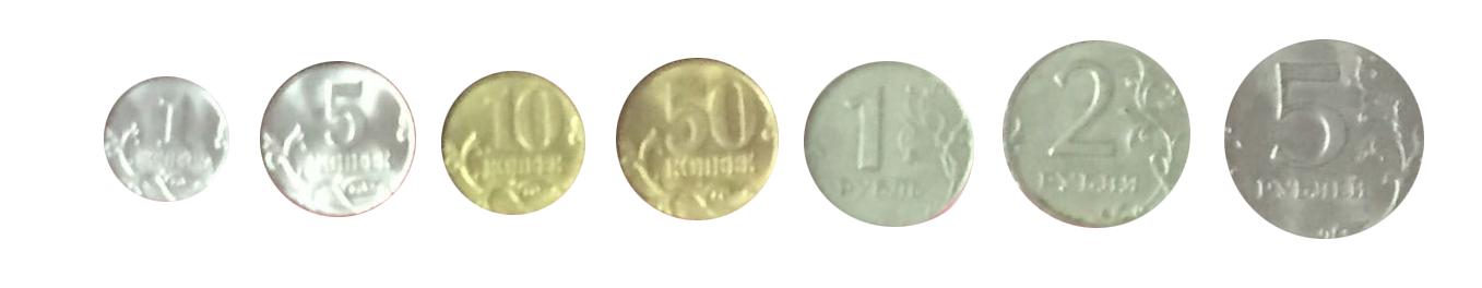Набор из 7 регулярных монет РФ 2008 года. СПМД (1 коп. 5 коп. 10коп. 50 коп. 1 руб. 2 руб. 5 руб.)