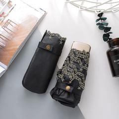 Ультратонкий зонт миниатюрный,  с защитой от УФ, 6 спиц, однотонный, с золотым кантом (черный)