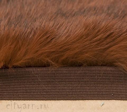 Меховая лента из кролика на прочной тесьме, рыже-коричневая, ширина 2.5 см