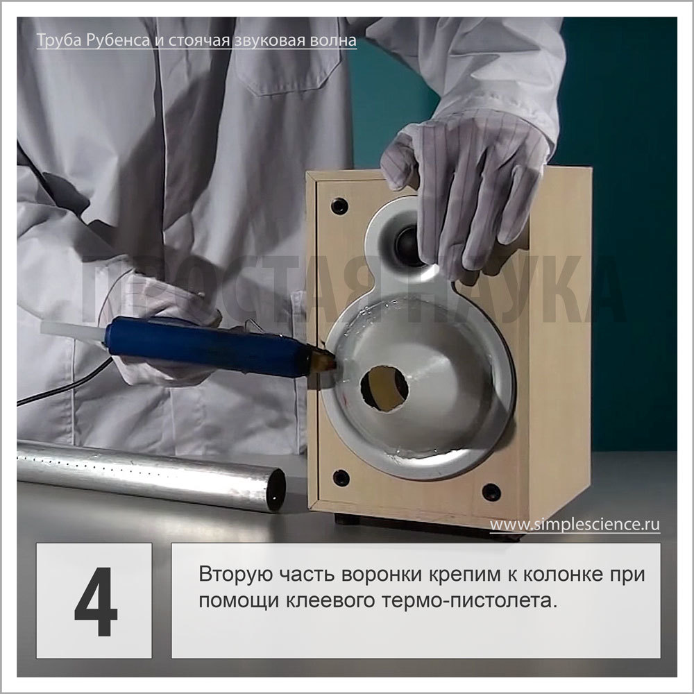 Вторую часть воронки крепим к колонке при помощи клеевого термо-пистолета.