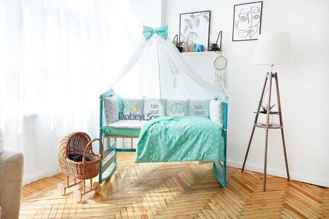 Комплект постельного белья в кроватку Панели 3-10 Мятно-белый