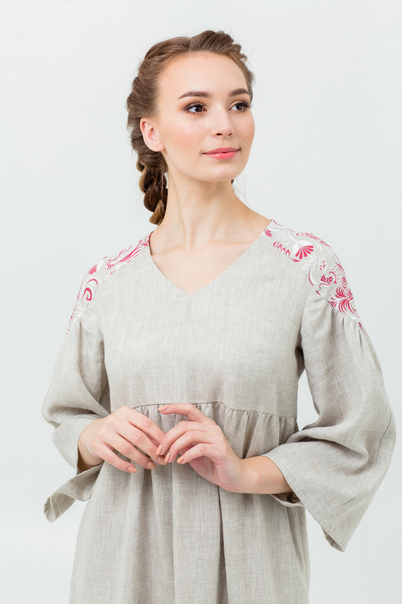 Славянское платье с узорами Калинка-малинка