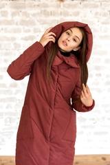 Пальто женское зимнее бордо