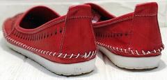 Летние слипоны мокасины кожаные женские Rozen 212 Red.
