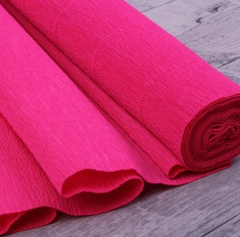 Бумага гофрированная, цвет 951 ярко-розовый, 140г, 50х250 см, Cartotecnica Rossi (Италия)
