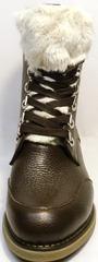 Зимние ботинки женские кожаные с мехом Studio27 576c Broun.