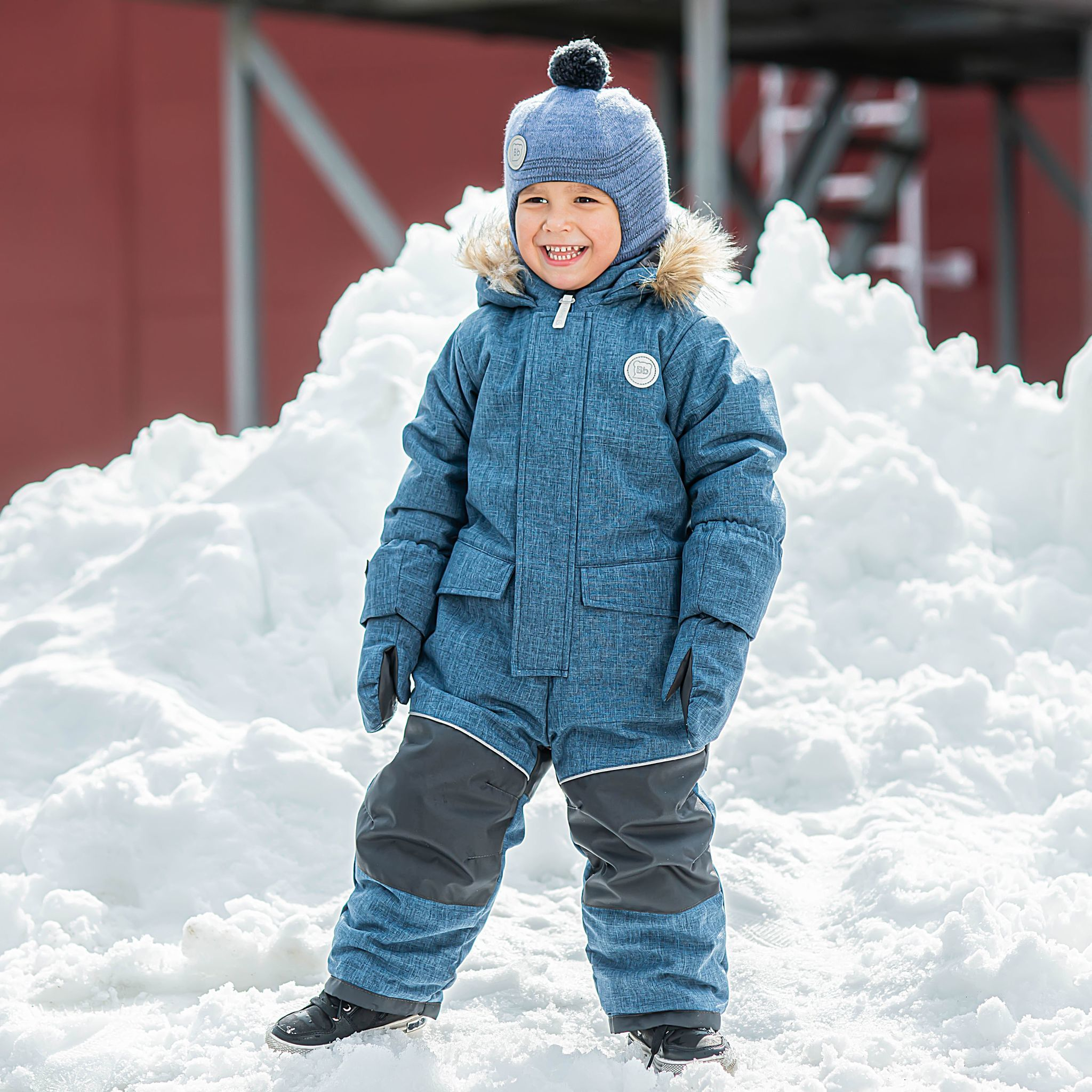 Winter membrane jumpsuit with enlargement system - Denim