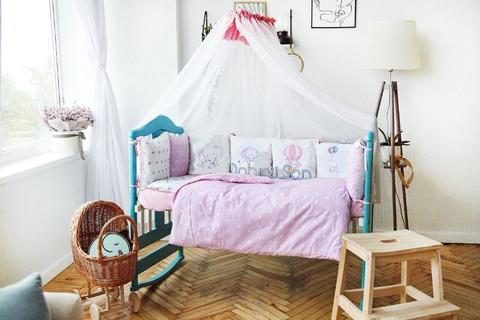 Комплект постельного белья в кроватку Панели 3-10 Розовый