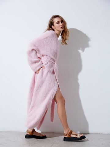 Кардиган из альпаки розовый