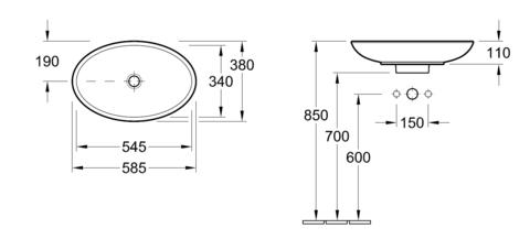 Раковина на столешницу   Villeroy&Boch Loop&Friends 58х38см.  5151 0001