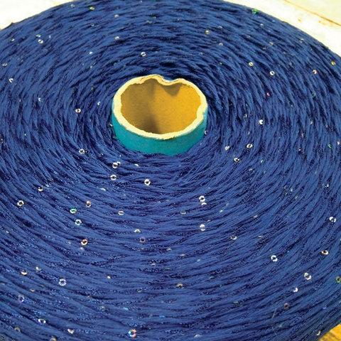 Хлопок с пайетками FILARTEX 250 темно-синий