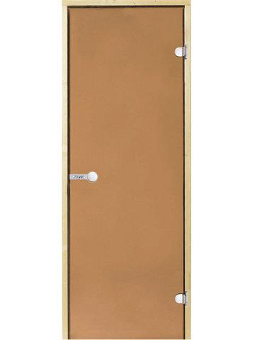 Дверь стеклянная Harvia 7х19, коробка ольха, стекло бронза, артикул D71901L