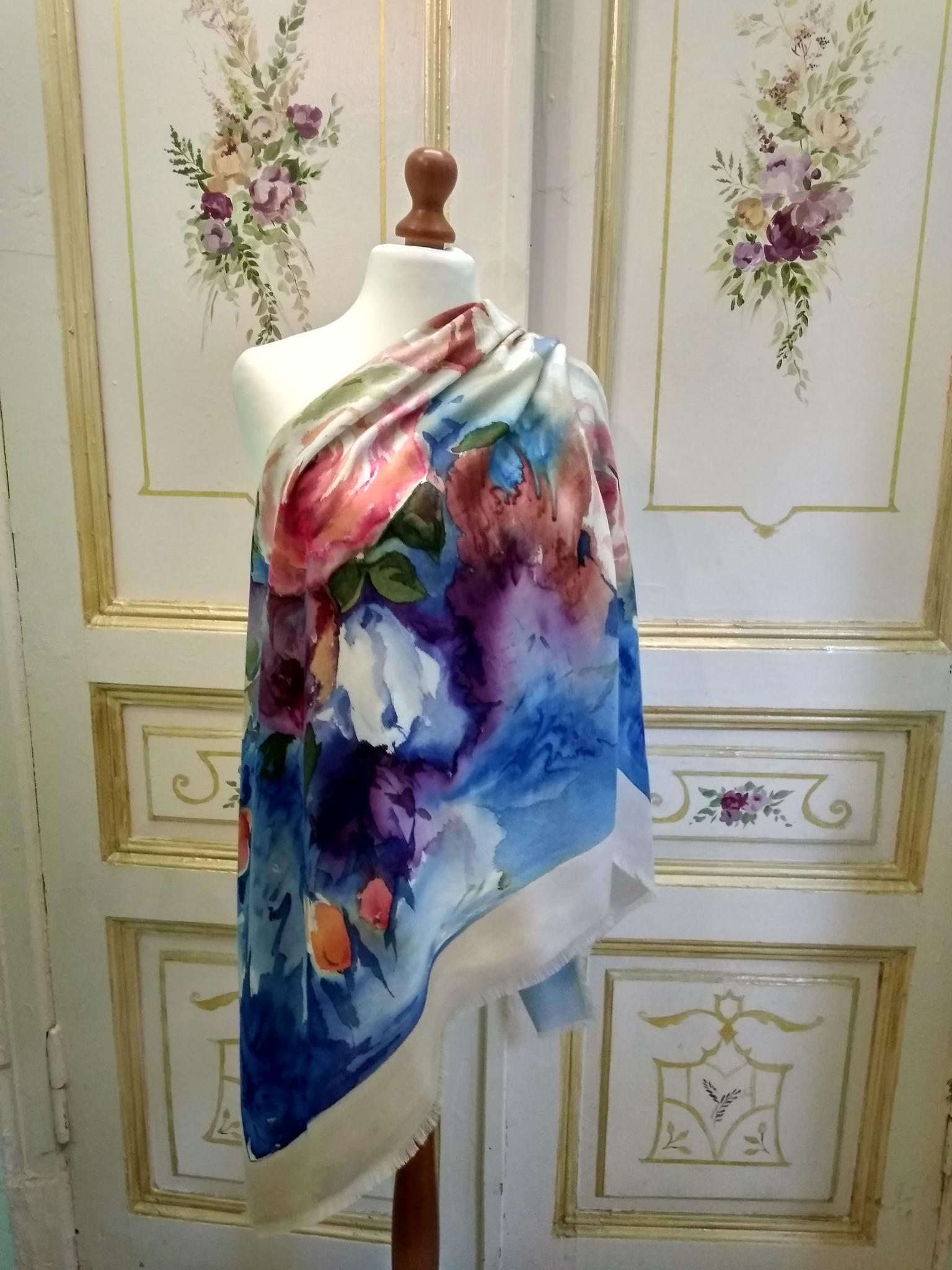 Шерстяной платок батик Лазурь С-74-sh