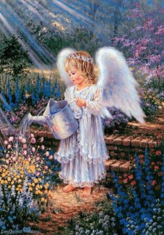 Алмазная Мозаика 40x50 Ангелок поливает цветы (арт. MТС3341 )
