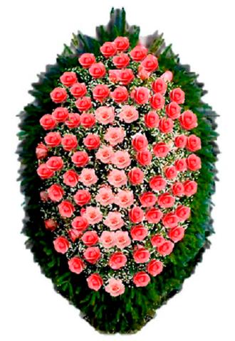 Траурный венок из живых цветов ВЖ 05 -150 см