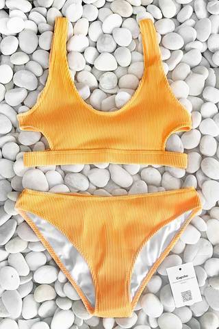 купальник желтый в рубчик раздельный с лямками yellow ribbed sun 2