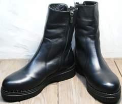Ботинки кожаные женские зимние без шнурков женские G.U.E.R.O G019 8556 Black.