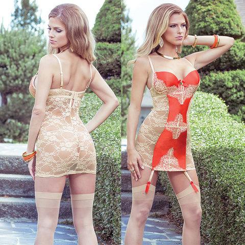 Сорочка с кружевной спинкой и контрастной вставкой Sexy Terracottas