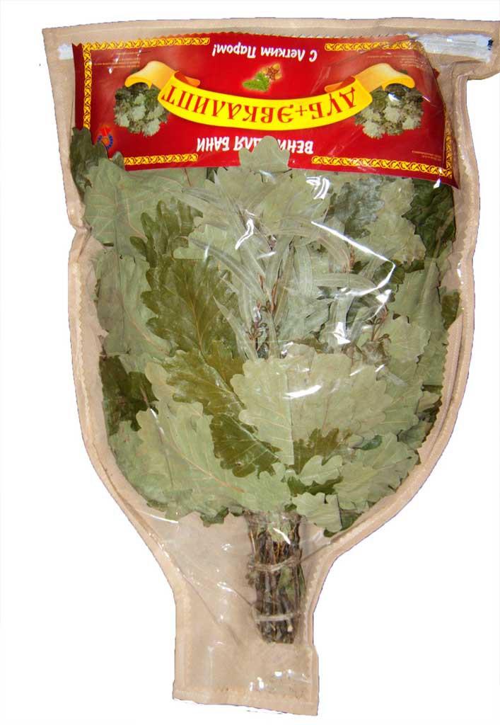 Веник дубовый с эвкалиптом в VIP упаковке