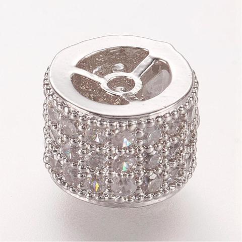 Бусина рондель разделитель 3 ряда цирконов 8 х 6 мм цвет платина