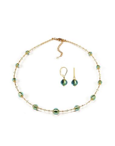 Серьги и ожерелье Примавера изумрудные