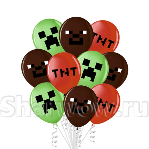 Яркий комплект воздушных шаров Пиксели Компьютерная игра Геймеры