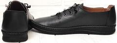 Черные мокасины кроссовки женские кожаные casual business EVA collection 151 Black.