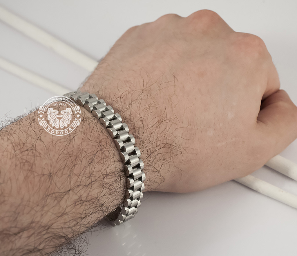 BM341 Стильный, тяжелый браслет из ювелирной стали на удобной застежке (21 см) фото 08