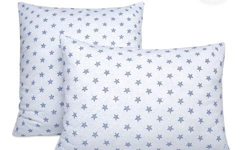Трикотажная наволочка на молнии Звезды (голубой)