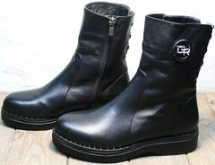 Высокие ботильоны на низком каблуке женские зимние G.U.E.R.O G019 8556 Black.