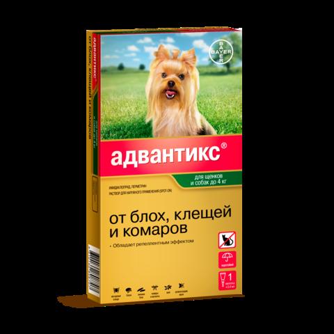 Bayer Адвантикс капли для щенков и собак до 4кг от блох, клещей и комаров (1 пипетка)